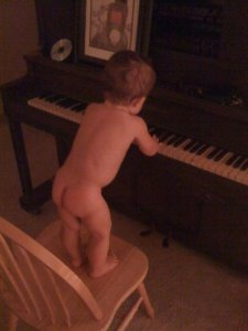 After-bath piano time!